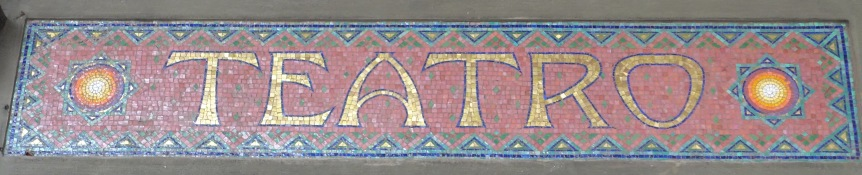 Old sign bologna mosaic Teatro modernissimo