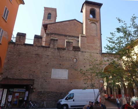 Bologna city wall visible Piazza verdi