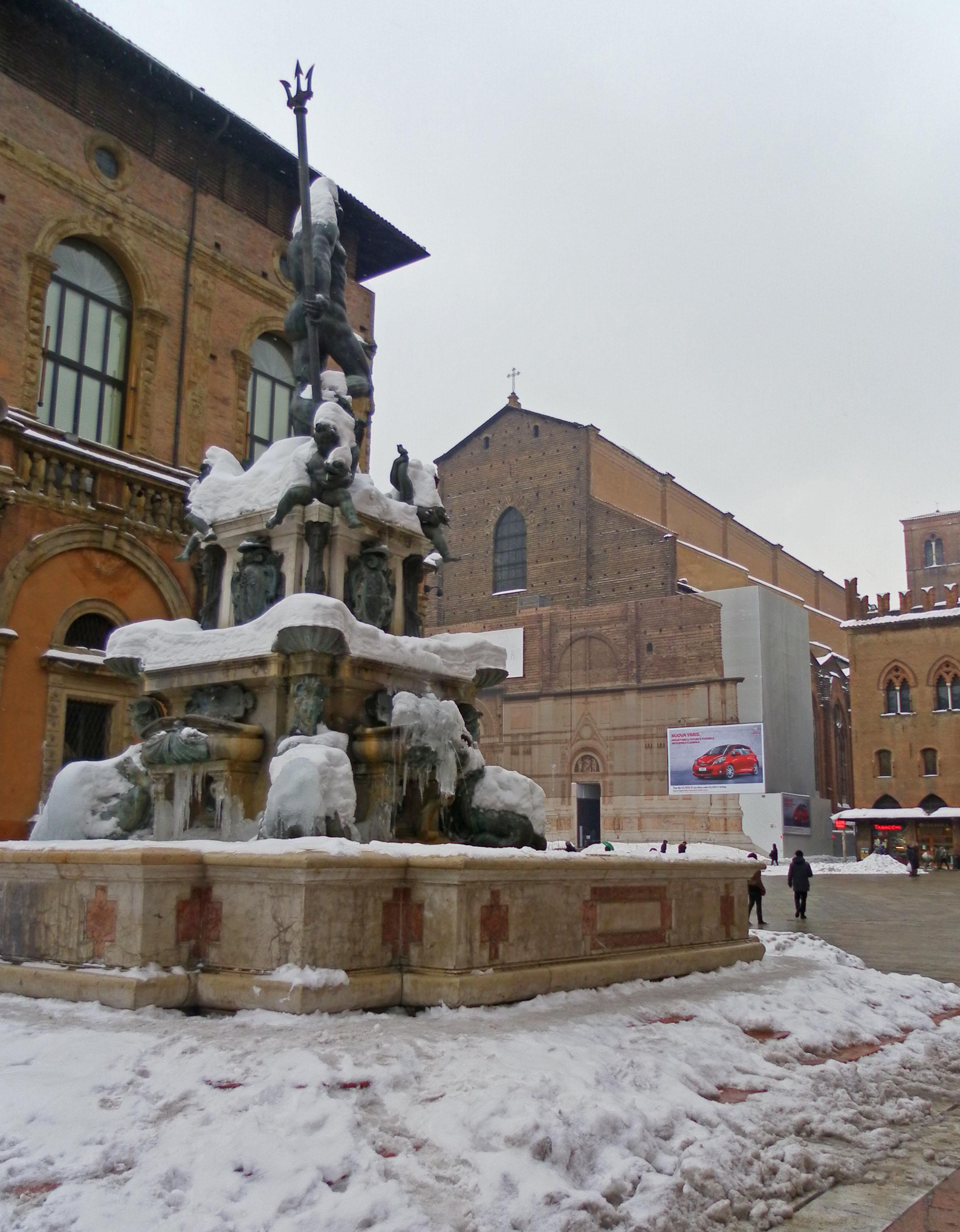 Neptune fountain snow Bologna
