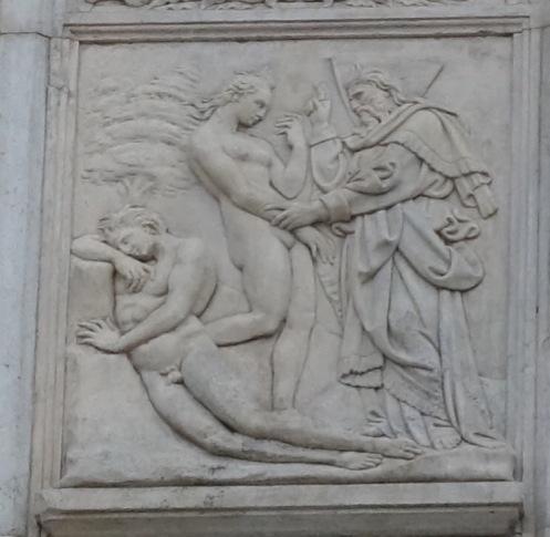 Jacopo della Quercia's Creation of Eve , San Petronio door