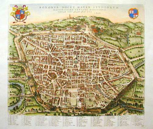 Map of Bologna in 1640 viewed from the  north by Johannes Blaeu