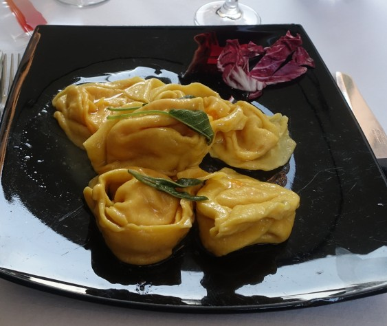 Cappellacci di Zucca in the traditional sage and butter sauce.